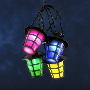 Led lichtsnoer 20 gekleurde lantaarns zwart Konstsmide feestverlichting