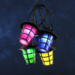 Led lichtsnoer 40 gekleurde lantaarns zwart Konstsmide feestverlichting