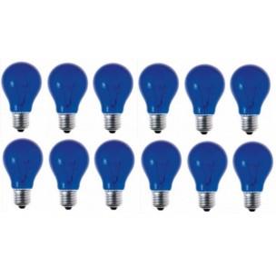 12 stuks gloeilamp blauw E27