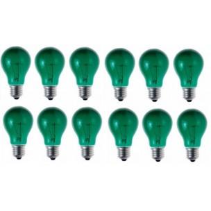 12 stuks gloeilamp groen E27