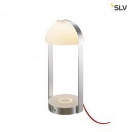 SLV 146111 brenda tafellamp en wl usb wit/zilver 2xled 3000k