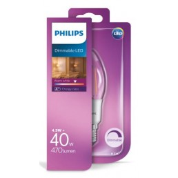Philips LED filament lamp E14 4,5W (40W) kaars dimbaar