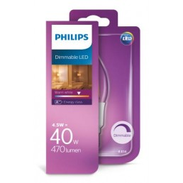 Philips LED filament lamp E14 4,5W (40W) kaars tip dimbaar