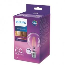 Philips LED filament lamp E27 7W (60W) globe dimbaar