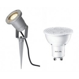 SLV 227418 Nautilus Spike zilvergrijs + Philips GU10 led lamp