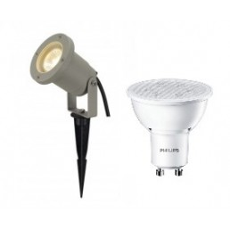 SLV 227419 Nautilus Spike zilvergrijs + Philips GU10 led lamp